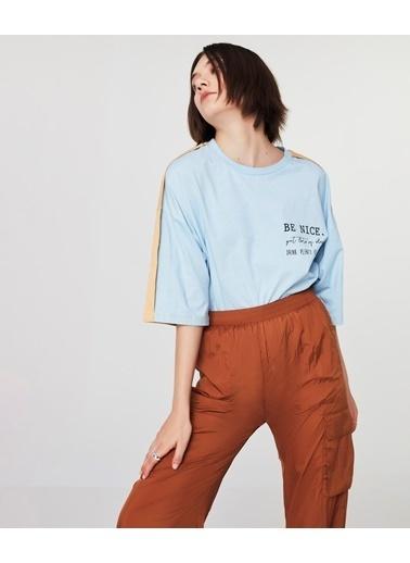 Twist Kadın Colorblock  Tişört TS1210070020089 Mavi